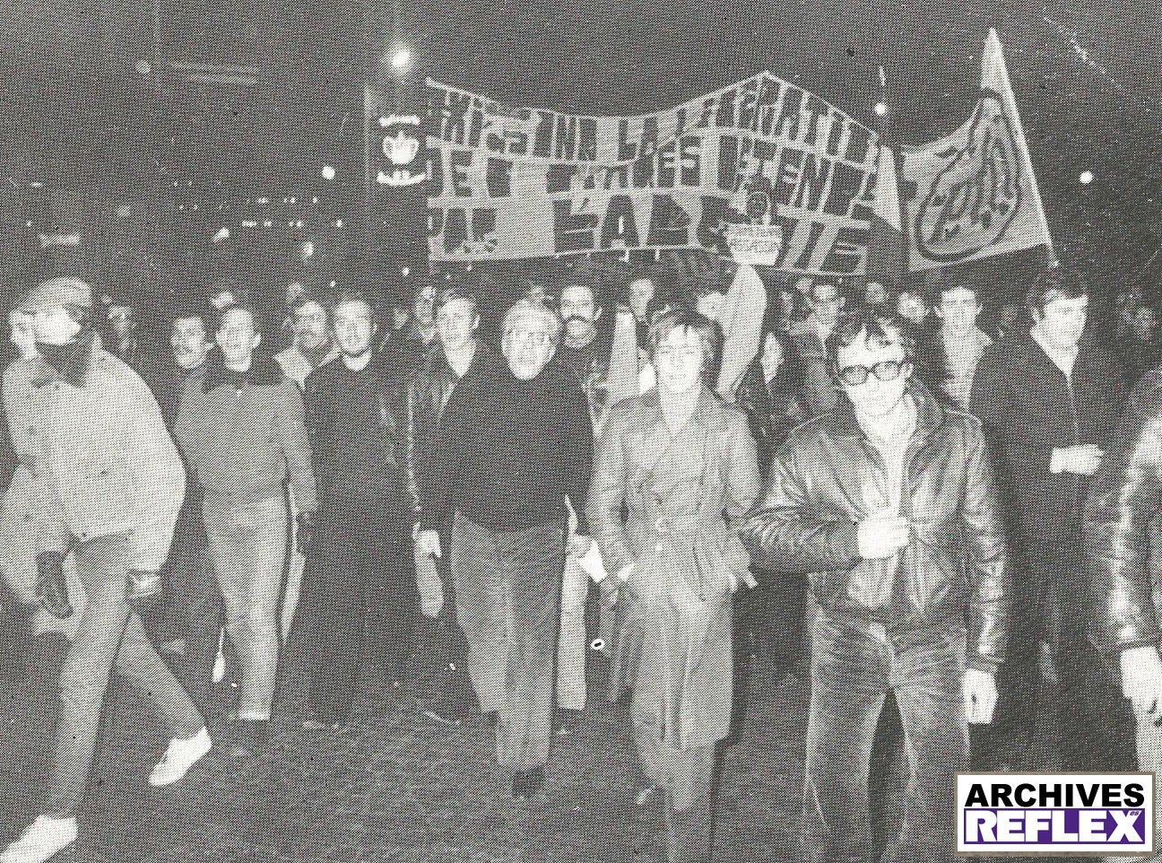 Manif du PFN en novembre 1977. Roland Gaucher au centre