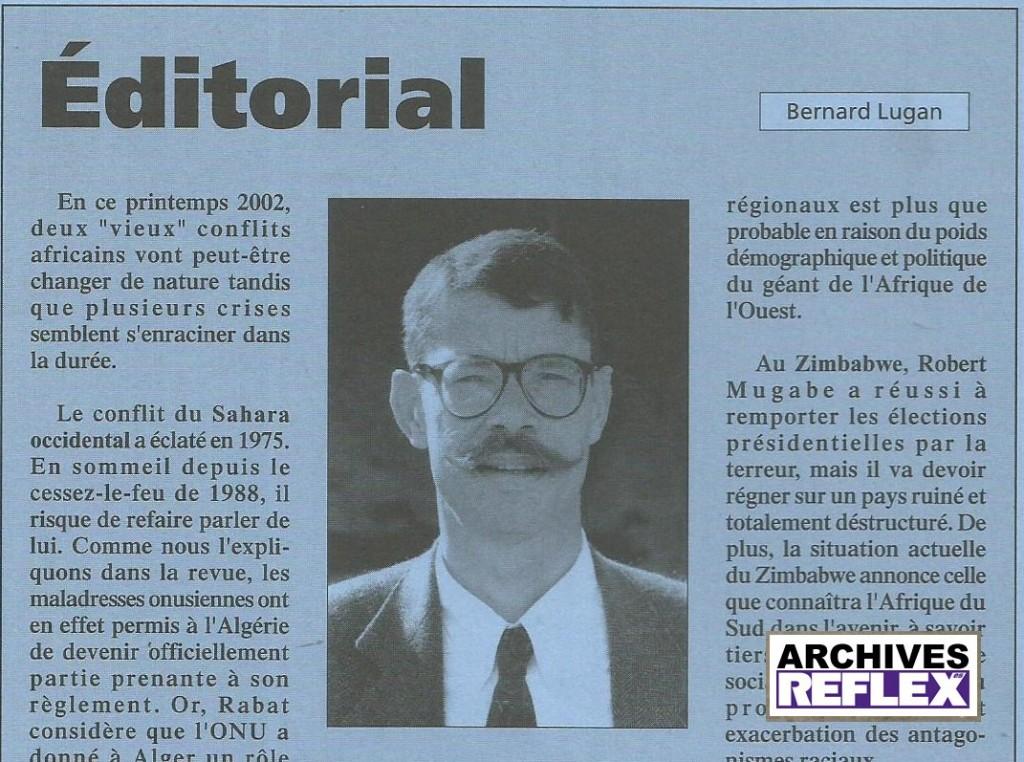 """Extrait de l'éditorial tiré du  catalogue de """"L'Afrique réelle"""" la revue de Bernard Lugan"""