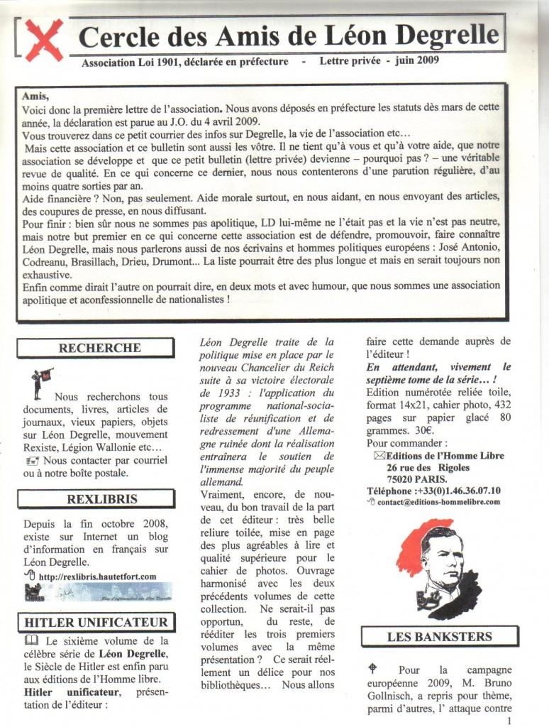 Septembre 2009, 1er numéro du bulletin
