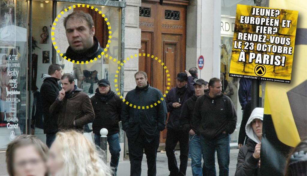 23 octobre 2010 à la manif « une autre jeunesse » des Identitaires, Loustau en meneur de bande, avec entre autre Alexandre Ayroulet (ancien directeur du FNJ, passé au Parti de la France) en tête et Samuel Moineau (également ancien du FN aujourd'hui au Mouvement d'Action Social) à ses côtés.