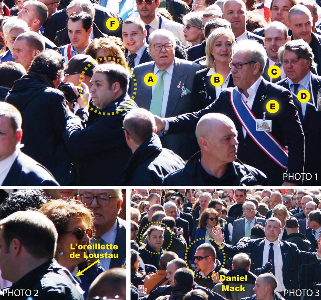 Photo 1 : Jean-Marie Le Pen, Marine Le Pen, Steeve Briois, Gilbert Collard, Jean-Michel Dubois et Mathieu Spieser. Ce dernier, chef de groupe DPS, eu droit à son heure de gloire grâce au site antifasciste Fafwatch