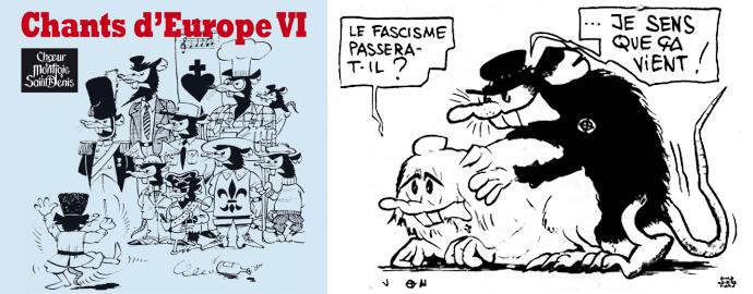 On reconnaît sur l'un des CD édité par le Chœur Montjoie Saint-Denis les rats dessinés par Jack Marchal pour [le GUD des origines->http://reflexes.samizdat.net/spip.php?article372], repris jusqu'à aujourd'hui par le groupuscule activiste de la fac d'Assas.
