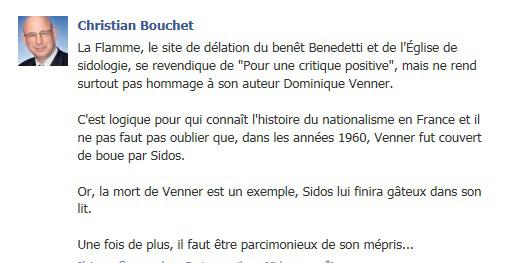 Bouchet profite de l'hommage rendu à Venner pour régler ses comptes avec l'Œuvre Française