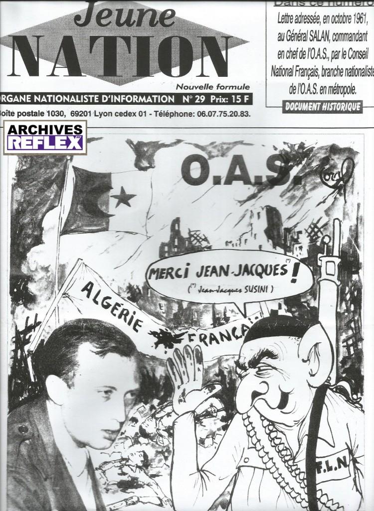 Février 97, couverture de Jeune Nation montrant plus de 30 ans après que l'OF a la rancune tenace !