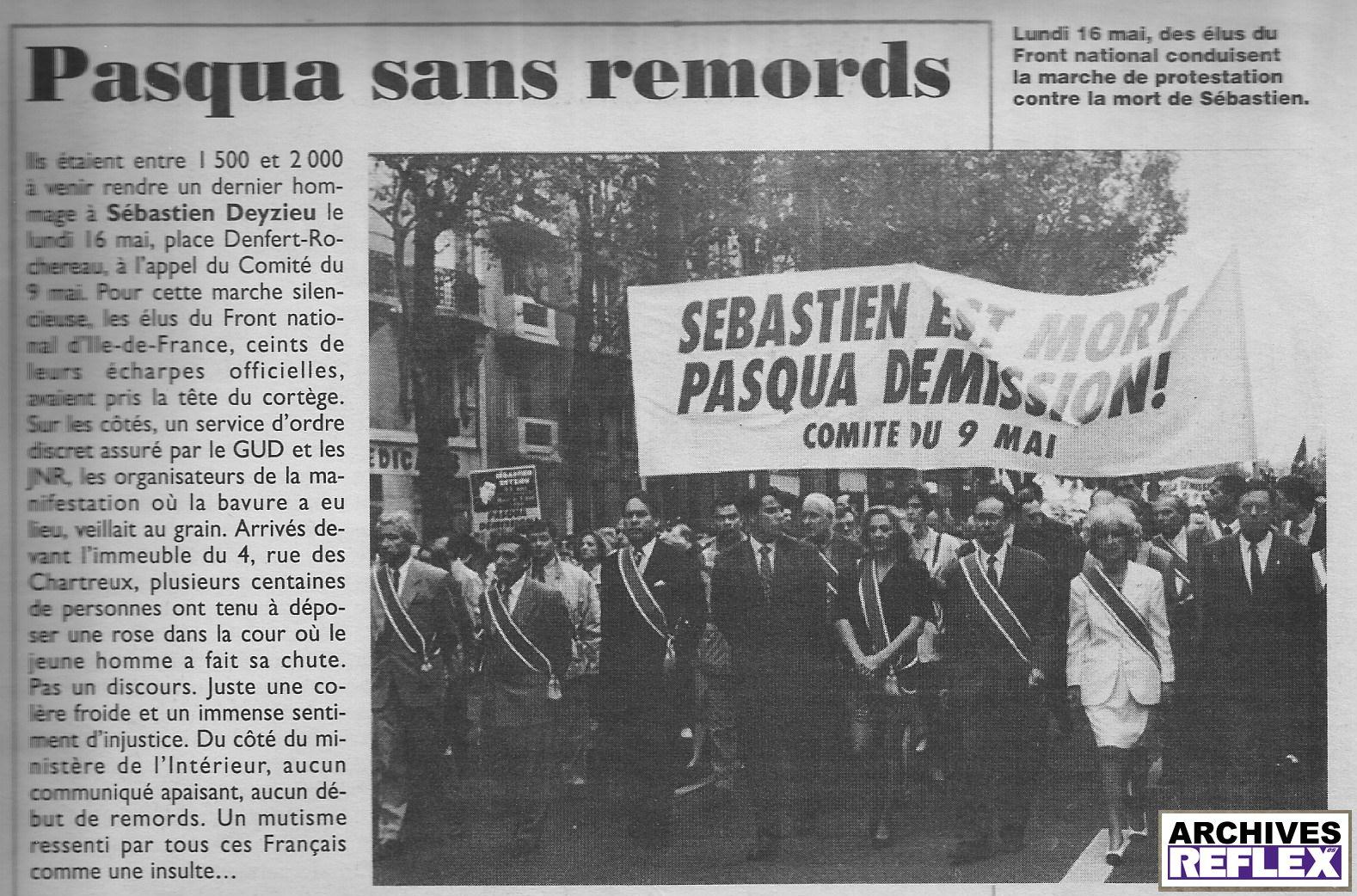 """""""Lundi 16 mai, des élus du Front National conduisent la marche de protestation contre la mort de Sébastien"""" Minute du 25 mai 1994"""