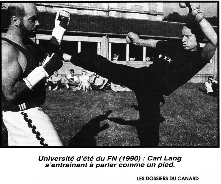 """Carl Lang en plein effort. Tiré des dossiers du Canard """"Le Pen le vrai""""oct. 1992"""