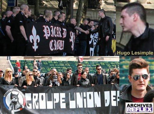 « Hugo Lesimple en 2010 (en bas) en jeune dandy-gudard à la mode Edouard Klein, 2 ans plus tard, le même après sa reconversion chez Ayoub, rasé de prêt et saluant les nazis-skins du Picard Crew »