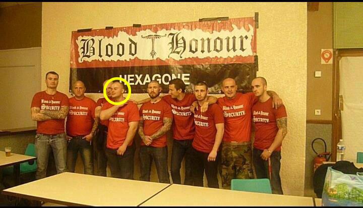Pierre Scarano avec le service d'ordre du Blood & Honour Hexagone.
