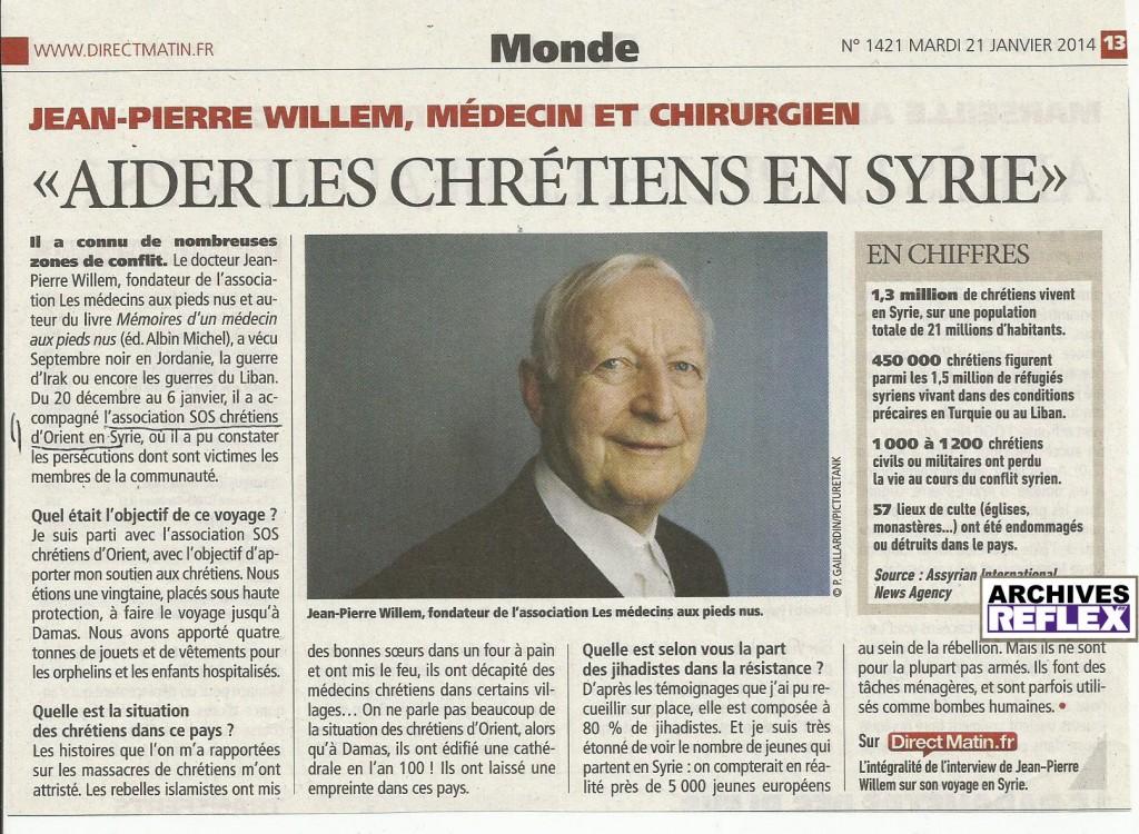 Direct Matin du 21 janvier 2014 « Jean-Pierre Willem, aider les chrétiens en Syrie »