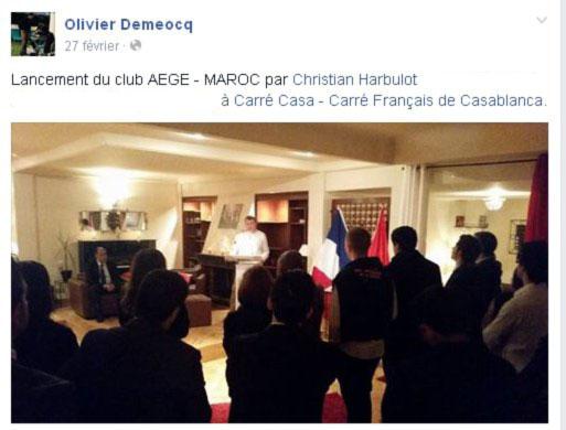 Christian Harbulot au Carré Français de Casablanca en février 2015, facebook public d'Olivier Demeocq.