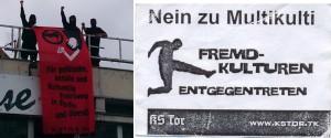 """À gauche, la Tor déploie une banderole """"Pour des espaces politiques, sociaux et culturels libres à Berlin et partout ailleurs"""". À droite, un autocollant : """"Non au multiculturalisme. Shootons les cultures étrangères."""""""