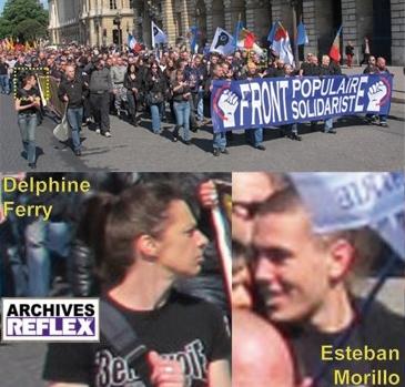 Delphine Ferry avec son beau Tee-shirt « Troisième Voie », avec Esteban Morillo dans le cortège TV du 12 mai 2013